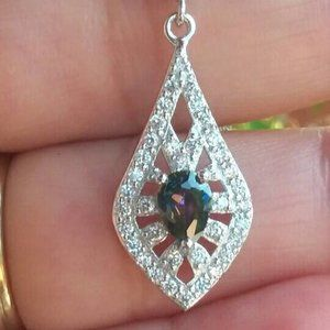 Mystic Topaz Necklace, Diamond Accent Pear Shape